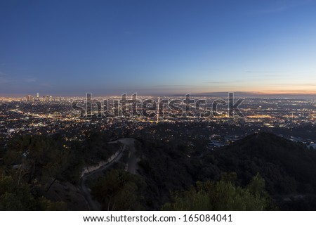 Dusk view of the Los Angeles Basin from Griffith Park. - stock photo