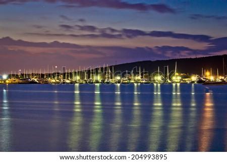 Dusk view of yacht club in Sukosan, Dalmatia, Croatia - stock photo