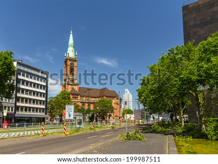 Dusseldorf after deadly storm on 10th June, 2014 - stock photo