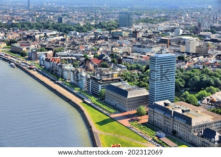 Dusseldorf - city in North Rhine-Westphalia region of Germany. Part of Ruhr region. Aerial view with Rhine river. - stock photo