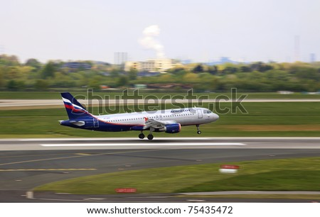 "DUSSELDORF, GERMANY - APRIL 15: A320 landed in the airport on April, 15 2011 in Dusseldorf. Results of 2010 show that ""Aeroflot"" became Russian largest carrier by the number of passengers uplifted on domestic flights"