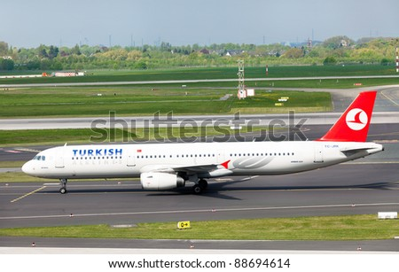 DUSSELDORF, GERMANY - APRIL 15: Airplane Aibus A321 landed in the airport on April, 15 2011 in Dusseldorf. The company operates scheduled services to 146 international and 41 domestic cities