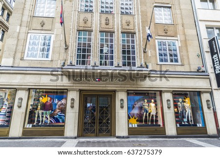 Dusseldorf, Germany - April 16, 2017: Tommy Hilfiger store located in a classical building in Dusseldorf, Germany