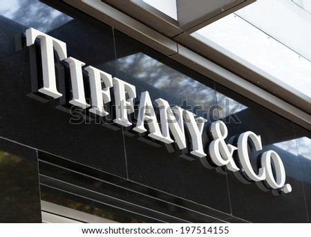 Dusseldorf, Germany - August 20, 2011: Tiffany and Co. logo sign on their store on Koenigsallee. Tiffany and Co. is an American jewelery and silverware company founded in New York City in 1837. - stock photo
