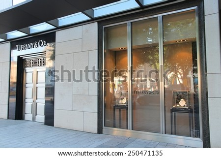 DUSSELDORF, GERMANY - JULY 8, 2013: Tiffany and Co store in Dusseldorf, Germany. The store is located at Konigsallee, luxurious top shopping street. - stock photo