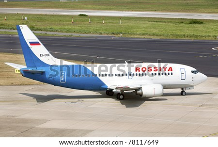 DUSSELDORF, GERMANY - MAY 20: Airplane Boeing 737 landed in the airport on May, 20 2011 in Dusseldorf. Rossiya Airlines is the leading air carrier in the North-Western Region of the Russian Federation