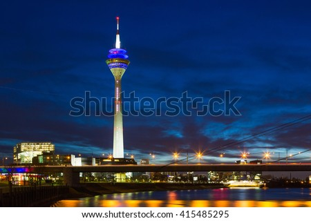 Dusseldorf - Germany. night scene includes media tower and bridge on Rhine river