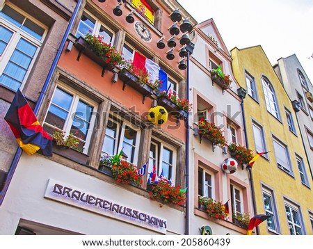 Dusseldorf, Germany, on July 6, 2014. Typical architectural details