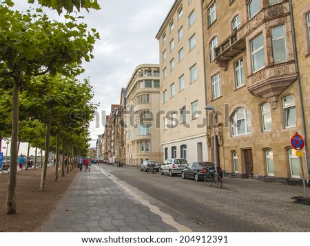 Dusseldorf, Germany, on July 5, 2014. Typical type of city architecture