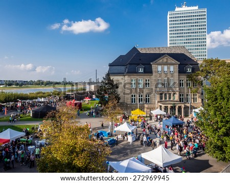 Dusseldorf, Germany - September 14, 2014: Crowd of people during Alp national holiday at Dusseldorf, Germany - stock photo
