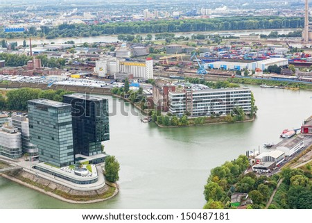 DUSSELDORF, GERMANY - SEPTEMBER 26: Modern architecture, September 26, 2012, Dusseldorf, Germany. In 20 cities and 14 areas in the territory almost in 10000 km lives about 11 million people (2005).