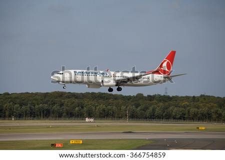 Dusseldorf, Germany - September 16,2012: Turkish Airlines  Boeing 737-800  taking off from Dusseldorf Airport. Turkish Airlines is the national carrier for Turkey. - stock photo