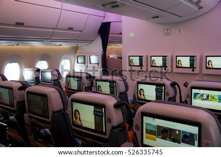 DUSSELDORF - JULY 22, 2016: Singapore Airlines Premium Economy Class on board of Airbus A350