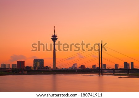 Dusseldorf Skyline at Sunset, Germany - stock photo