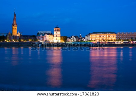 Dusseldorf Skyline at the Blue Hour - stock photo