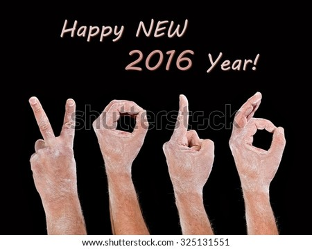 Dust covered hands 2016 Happy New Year