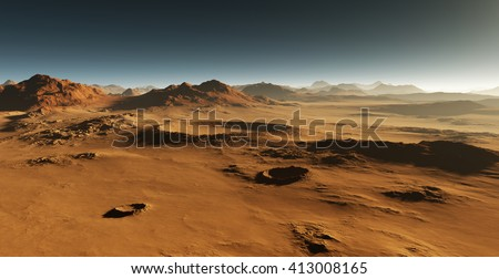 Dust on Mars. Sunset on Mars. Martian landscape with craters. All art elements made by me. - stock photo