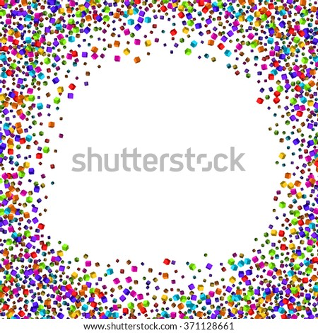 Dust particles.Colorful cubes composition.Rainbow colors.Background template.