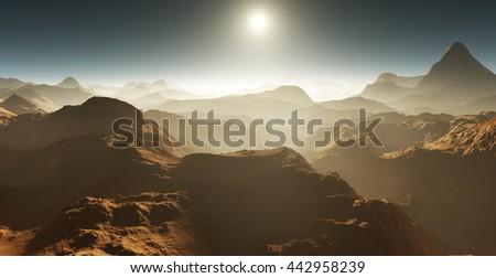 Dust storm on Mars. Sunset on Mars. Martian landscape. 3D rendering - stock photo