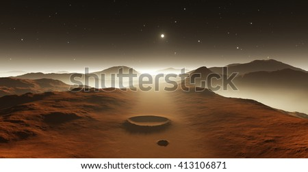 Dust storm on Mars. Sunset on Mars. Martian landscape with craters - stock photo