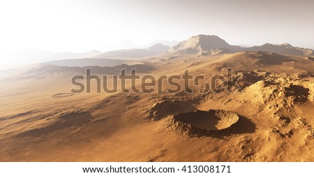 Dust storm on Mars. Sunset on Mars. Martian landscape with craters. All art elements made by me. - stock photo