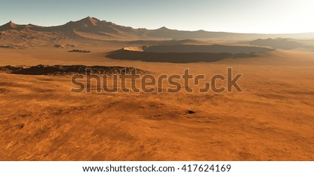 Dust storm on Mars. Sunset on Mars. Martian landscape with craters. 3D - stock photo