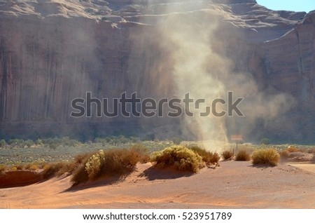 Dust Whirlwind at Monument Valley Tribal Park in Utah, USA