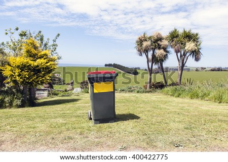 dustbin in tropical pasture