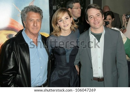 Dustin Hoffman with Emma Watson and Matthew Broderick   at the World Premiere of 'The Tale of Despereaux'. Arclight Hollywood, Hollywood, CA. 12-07-08