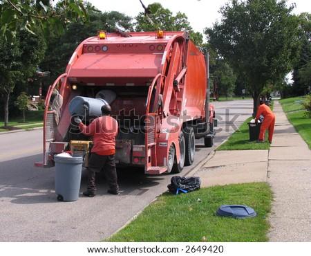 dustmen at work - stock photo