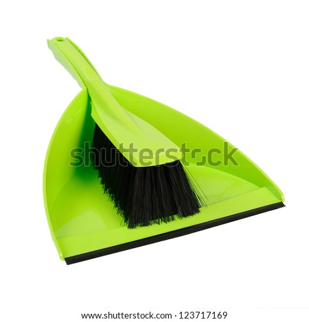 Dustpan and brush green. Isolated on white background - stock photo