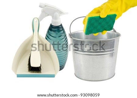 dustpan,spray bottle,pail and sponge ready for the cleaning job! on a white background