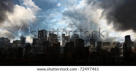 Dusty Grunge City - stock photo