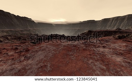 Dusty haze settling into Martian crater - stock photo