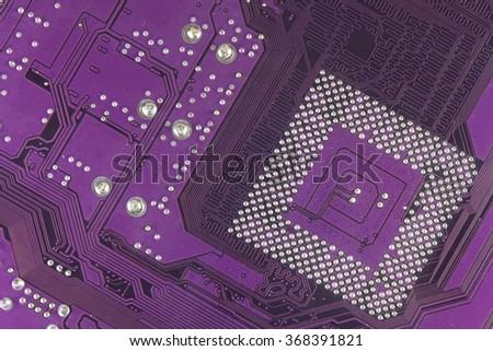Dusty printed circuit board. High tech closeup. Printed circuit board with paths for micro assembly.  - stock photo