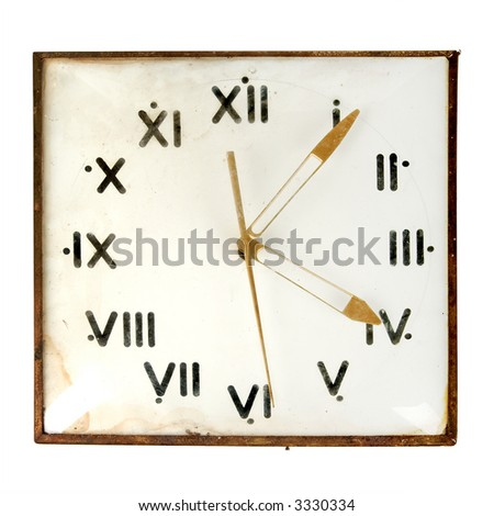 Dusty retro wall clock isolated on white background - stock photo