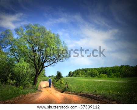 Dusty road on a beautiful spring day in Quebec, Canada - stock photo