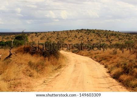 Dusty safari road in Tsavo East National Park, Kenya - stock photo