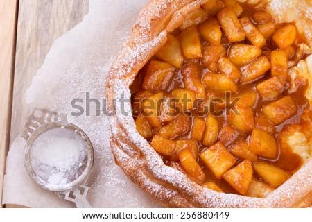 Dutch baby pancake or german pancake with apple. USA variation of traditional Netherlands pancakes. - stock photo