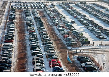 Dutch car parking in wintertime - stock photo