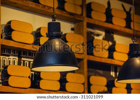 Dutch cheese  in market of Amsterdam - stock photo