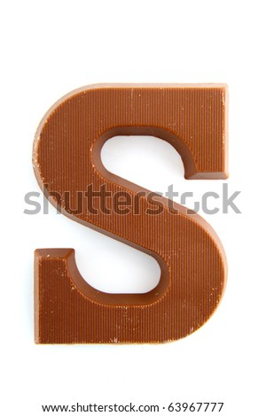 Dutch chocolate letter for Sinterklaas holidays isolated over white - stock photo