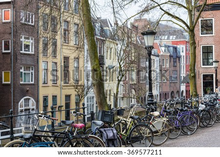 Dutch city Utrecht with bicycles and old historic houses
