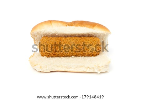 Dutch croquette sandwich against white background - stock photo