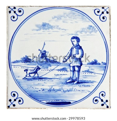 dutch delft blue tile playing child - stock photo