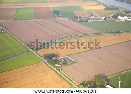 Dutch farm landscape from above - stock photo