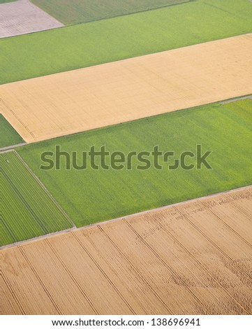 Dutch farm landscape from above, The Netherlands - stock photo
