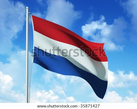 dutch flag in blue sky background - 3d rendered image - stock photo