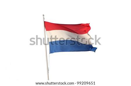 Dutch flag on white - stock photo