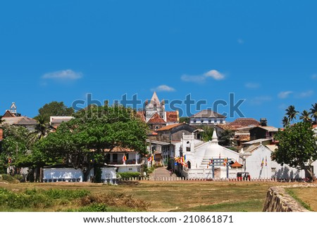 Dutch Galle Fort (Fortress Galle), Sri Lanka, general view with with Christian church and Shri Sudharmalaya Buddhist Temple - stock photo